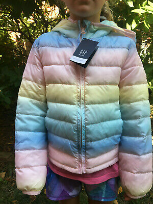 NWT Gap Kids Cold Control Lite Puffer Hooded Wide Rainbow Stripe Jacket Hood