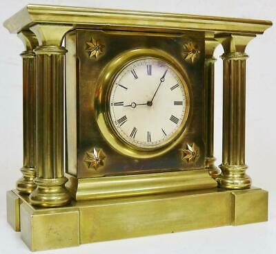 Antique French 8 Day Bronze mantel Clock Architectural Tic Tac Escapement Clock