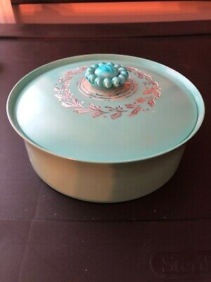 Vintage CORT Gay Romance Dream Dust Teal Powder Talc Plastic Container