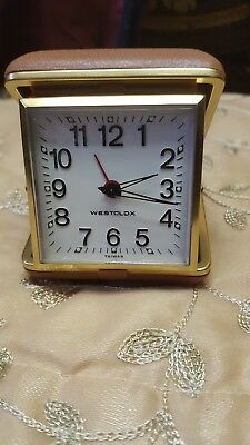 VIntage Westclox Travel Alarm Clock Tested Works Nice Case Made In Taiwan