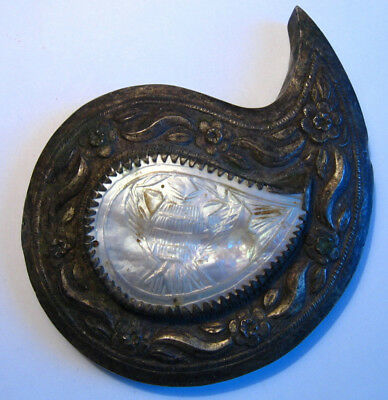 Medieval or post Medieval Silver Belt buckle with mother of pearl eagle