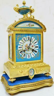 Antique French 8 Day Bronze Mantel Clock Striking Sevres Porcelain Mantle Clock