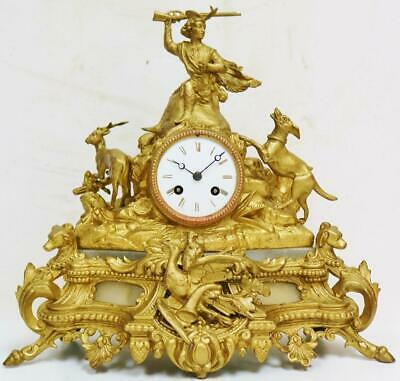 Beautiful Antique French 8 Day Striking Gilt Metal Hunting Themed Mantle Clock