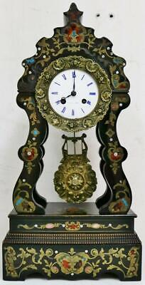 Antique French 8 Day Boulle & Enamel Inlaid Portico Mantel Clock Bell Striking