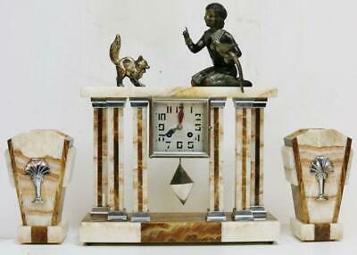Antique French 8Day Art Deco Mantel Clock Set Marble Portico Bell Striking Clock