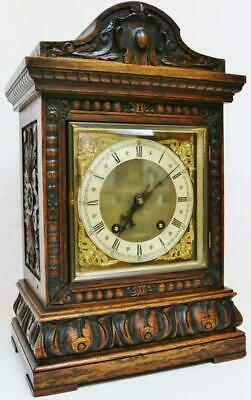 Antique W & H Highly Carved Oak 8 Day 1/4 Strike Ting Tang Musical Bracket Clock