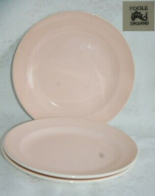 Vintage Poole twin tone pale pink/cream set of 3 side plates