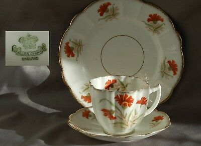 Vintage melba china trio cup, saucer and plate orange floral decoration no 2399