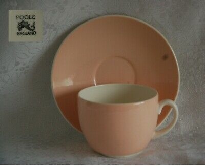 Vintage Poole twin tone pale pink/cream breakfast duo cup and saucer