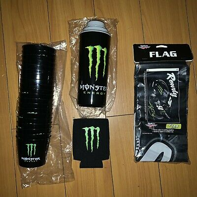 Monster Energy Tailgate Bundle Bomber Shot Cups ,Flag, Coozie + More RARE NEW