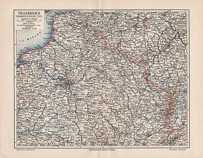 Antique map. FRANCE. NORTHERN PART. 1905