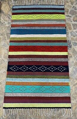 "New Authentic Zapotec Oaxacan 33""x59"" Hand Woven  Floor Wall Wool Tapestry Rug"