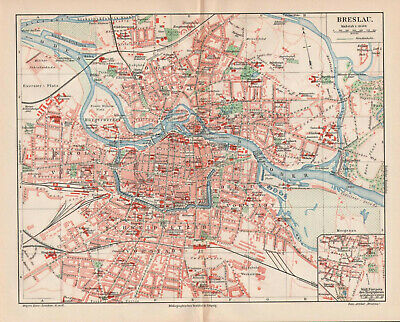 Antique map. POLAND. CITY MAP OF WROCLAW. 1905