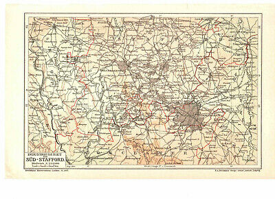 Antique map. UK. ENGLAND. INDUSTRIAL AREA OF SOUTH STAFFORDSFIRE. 1904