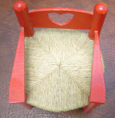 Vintage Red Doll Chair With Heart In Back  -  Twine Seat  -  Very Good Condition