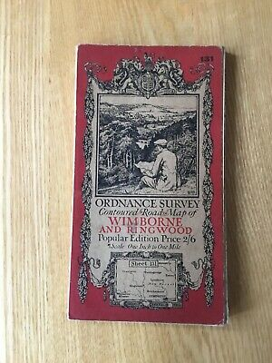 1919 Ordnance Survey One Inch Contoured Road Cloth Map 131 Wimborne And Ringwood