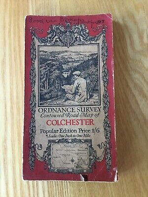 1921 Ordnance Survey One Inch Contoured Road Map 97 Colchester on cloth