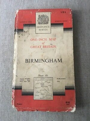 1962 Ordnance Survey Seventh Series One Inch Map 131 Birmingham (Incl Dudley)