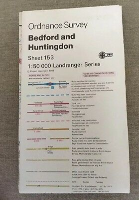 1988 Ordnance Survey Landranger Second Series Map 153 Bedford And Huntingdon