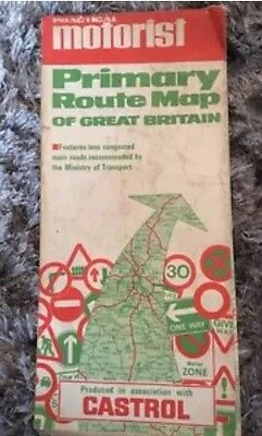 Practical Motorist Primary Route Map Of Great Britain Published 1967