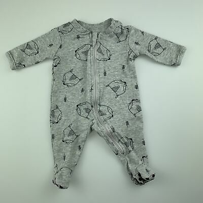 Boys size 00000, Tiny Little Wonders, grey cotton zip coverall / romper, EUC