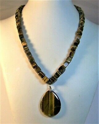Extremely High Quality Tiger's Eye Natural Stone Necklace NWOT