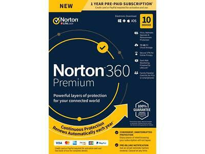 Norton 360 Premium 2019 10-Devices PC/MAC/Android/iOS