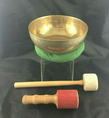 "Silver Sky Bronze 9"" Tibetan Singing Bowl & 2 mallets (Hi Lo) Cushion Healing"
