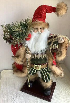 Large Vintage Old World Santa On Wooden Base. Very Nice Condition.
