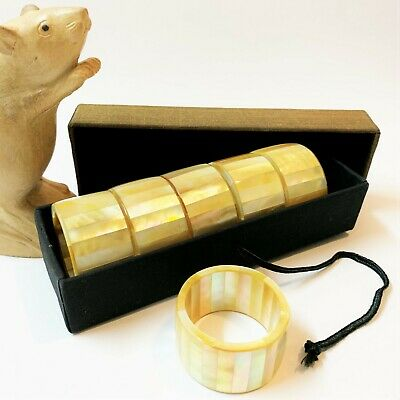 Boxed Set x 6 Thai Faceted Mother of Pearl Napkin Rings Holders, Unused