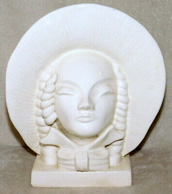 STUNNING MONOCHROME (WHITE) LADY HEAD VASE WITH BONNET - c1940's - PERFECT
