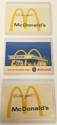Set Of 3 Vintage Mcdonalds Free Meal Cards Cmplimentary Meal Vouchers