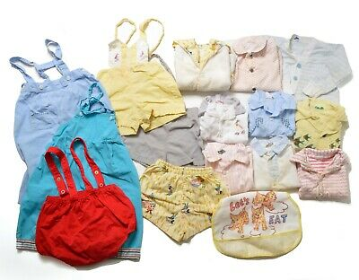 Vtg Lot Baby Boy Toddler Clothes 12 - 18 Mos 50s 60s Overalls Button Down Shirt