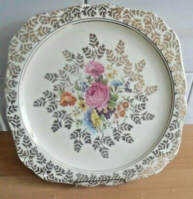 VINTAGE CAKE PLATE LORD NELSON WARE by ELIJAH COTTON STAFFS..LGE 26cms diameter