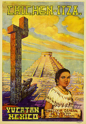 Mexico Mayan Pyramids Classic 1960s Vintage Travel Poster 20x28