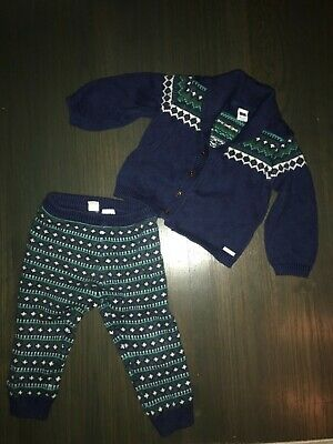 Janie and Jack Boys Sz 18-24 Months winter Holiday Knit sweater Pants Cardigan