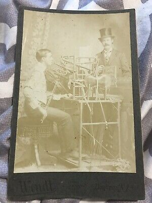 Cabinet Card Photo One Man Band Mr. Chisholm-Instruments Rare