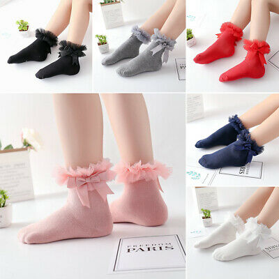 Kids Baby Girls Frilly Bow Lace Tutu Socks Infant Newborn Toddler Ankle Socks~
