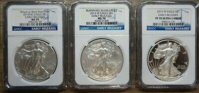 2015 W Silver Eagle 3-Coin Set NGC PF-MS70 E.R