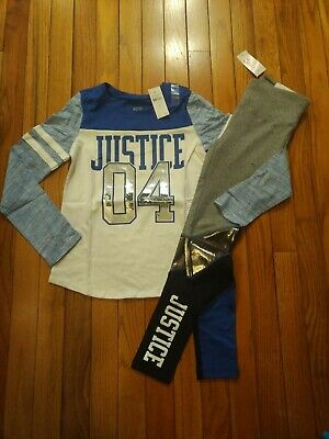 NWT Justice Girls Outfit Logo Top/Leggings Size  7 8 10 12