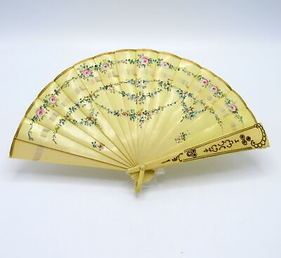 Antique Edwardian Japanese Hand Painted Celluloid Fan w/ Original Silk Ribbon
