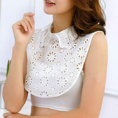 Women False Fake Petals Collar Flower White Lace Detachable Half Shirt Blouse