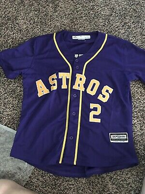 outlet store 79d9a 665b5 ALEX BREGMAN HOUSTON Astros purple gold jersey NOT SGA XL
