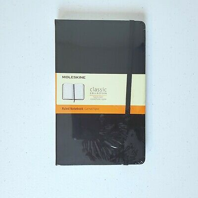 "Moleskine Black Large Hard Cover Ruled Notebook 5"" x 8 1/4""  240 Lined Pages"