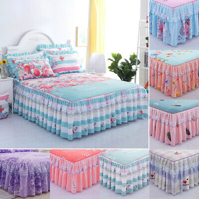 Floral Printed Lace Princess Sheets Bed Skirt Comforter Dust Ruffle Bedspread