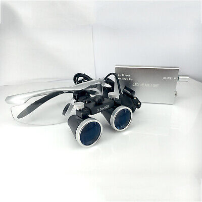 3.5X 420mm Dental Surgical Binocular Loupes with 3W Medical LED Headlight Lamp