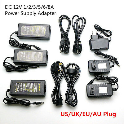 AC DC12V 1A 2A 3A 6A 7A 8A  Power Supply Adapter US EU UK Plug LED Strip light