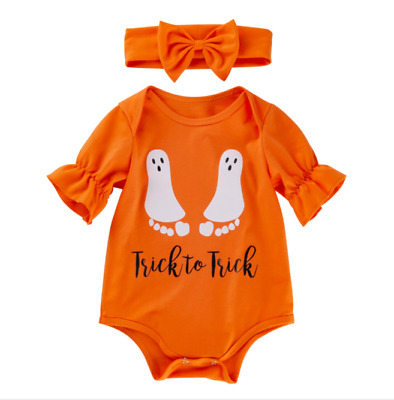 Newborn Baby Girls Clothes Cute Romper Jumpsuit Bodysuit Halloween Outfit Set