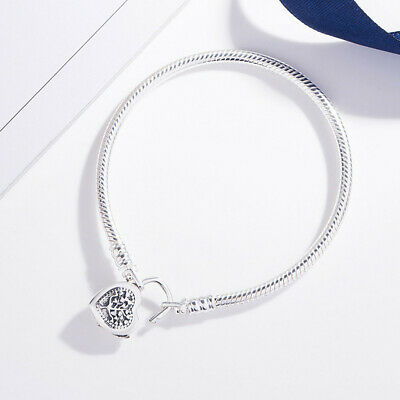 New European S925 Heart Lock Sterling Love Bracelet Bangle Charms Snake Chain