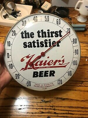 Kaier's Beer Thermometer Glass Front Advertising 7 69 Sign Works
